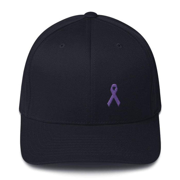 Cancer And Alzheimers Awareness Twill Flexfit Fitted Hat With Purple Ribbon - S/m / Dark Navy - Hats