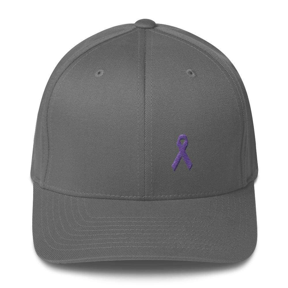 Load image into Gallery viewer, Cancer And Alzheimers Awareness Twill Flexfit Fitted Hat With Purple Ribbon - S/m / Grey - Hats