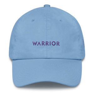 Load image into Gallery viewer, Cancer Awareness and Alzheimers Awareness Dad Hat with Embroidered Purple Ribbon & Warrior - One-size / Carolina Blue - Hats