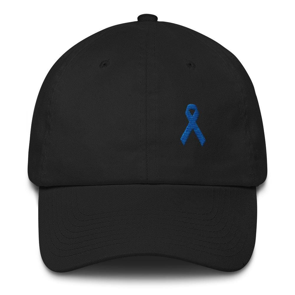 Load image into Gallery viewer, Colon Cancer Awareness Dad Hat with Dark Blue Ribbon - One-size / Black - Hats