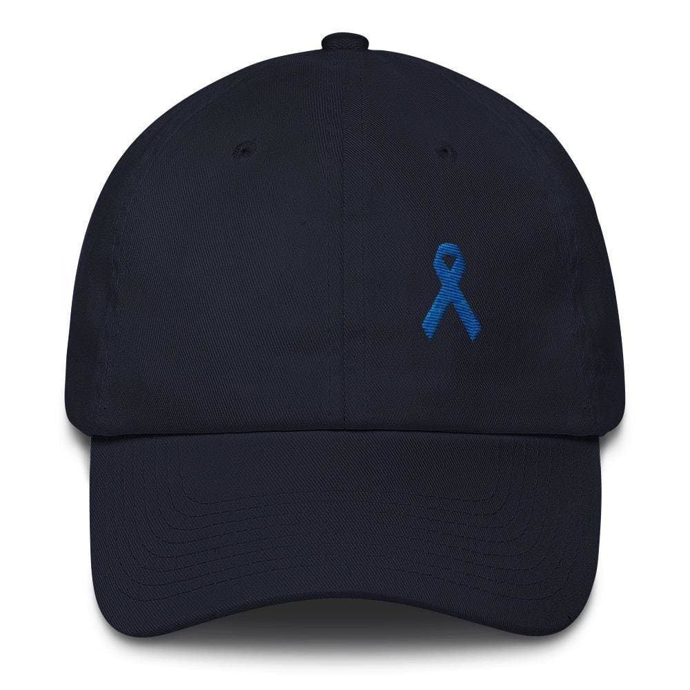 Load image into Gallery viewer, Colon Cancer Awareness Dad Hat with Dark Blue Ribbon - One-size / Navy - Hats
