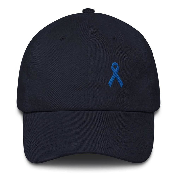 Colon Cancer Awareness Dad Hat with Dark Blue Ribbon - One-size / Navy - Hats