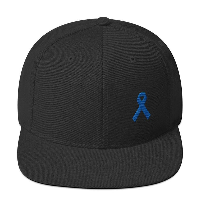Colon Cancer Awareness Flat Brim Snapback Hat with Dark Blue Ribbon