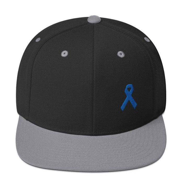 Colon Cancer Awareness Flat Brim Snapback Hat with Dark Blue Ribbon - One-size / Black/ Silver - Hats