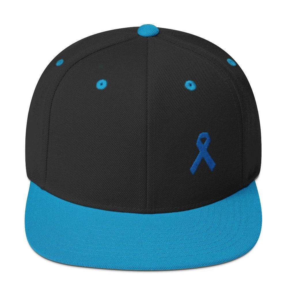 Colon Cancer Awareness Flat Brim Snapback Hat with Dark Blue Ribbon - One-size / Black/ Teal - Hats