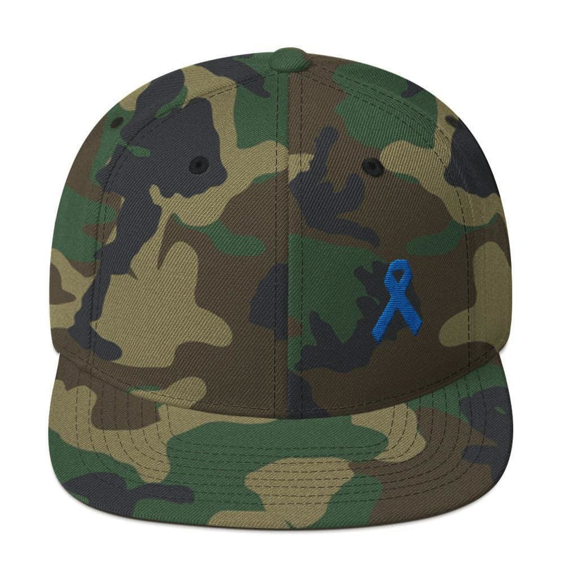 Colon Cancer Awareness Flat Brim Snapback Hat with Dark Blue Ribbon - One-size / Green Camo - Hats