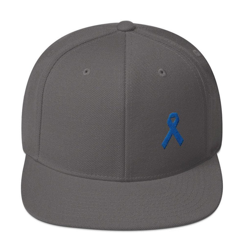 Colon Cancer Awareness Flat Brim Snapback Hat with Dark Blue Ribbon - One-size / Dark Grey - Hats