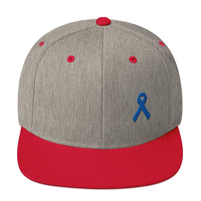 Colon Cancer Awareness Flat Brim Snapback Hat with Dark Blue Ribbon - One-size / Heather Grey/ Red - Hats