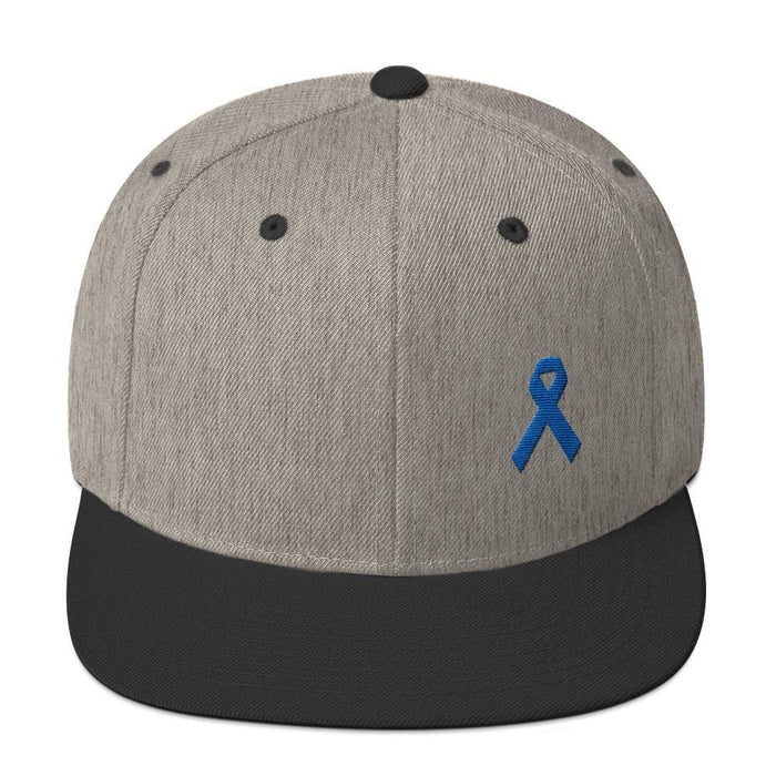 Colon Cancer Awareness Flat Brim Snapback Hat with Dark Blue Ribbon - One-size / Heather/Black - Hats