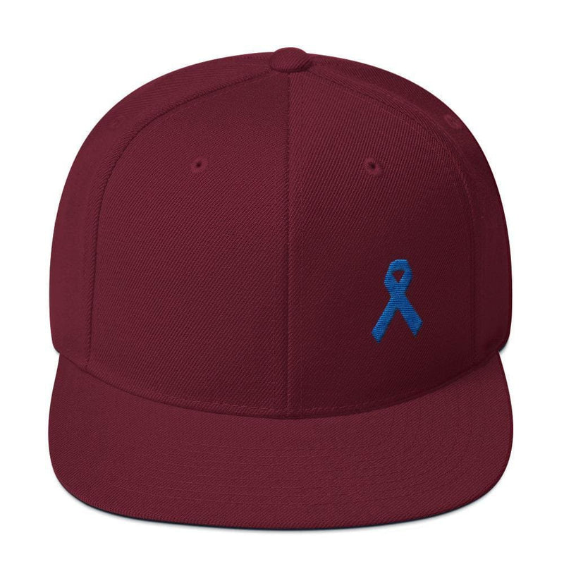 Colon Cancer Awareness Flat Brim Snapback Hat with Dark Blue Ribbon - One-size / Maroon - Hats