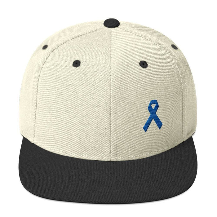 Colon Cancer Awareness Flat Brim Snapback Hat with Dark Blue Ribbon - One-size / Natural/ Black - Hats