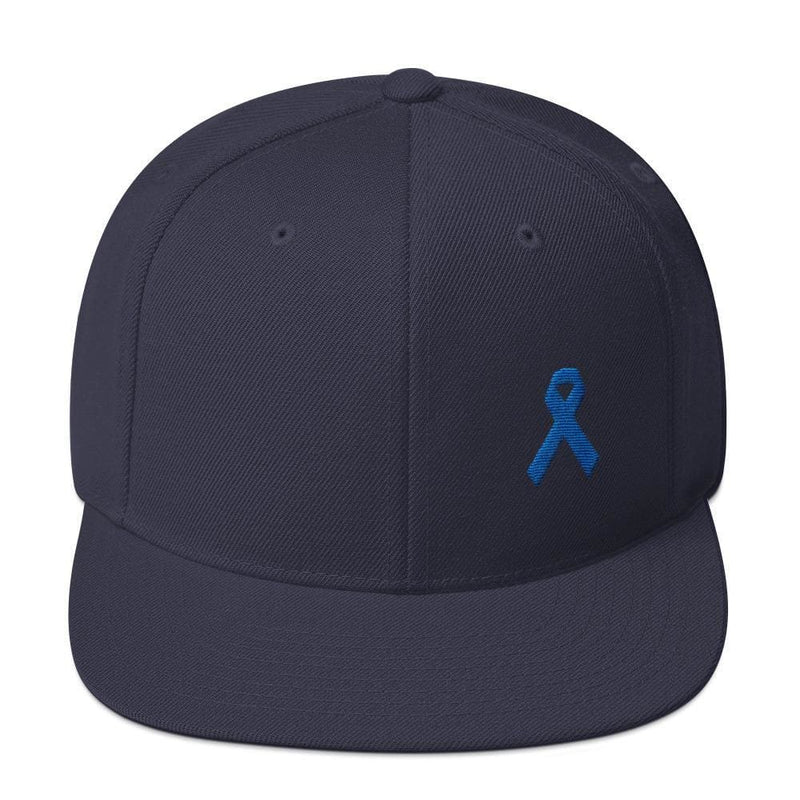 Colon Cancer Awareness Flat Brim Snapback Hat with Dark Blue Ribbon - One-size / Navy - Hats