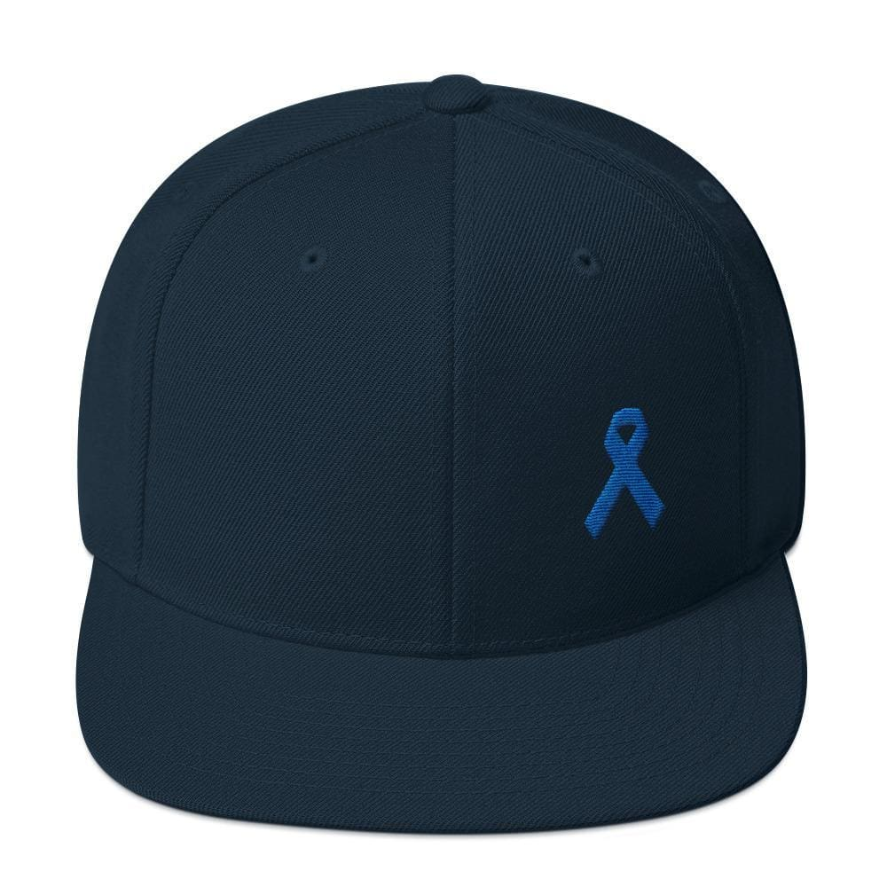 Colon Cancer Awareness Flat Brim Snapback Hat with Dark Blue Ribbon - One-size / Dark Navy - Hats