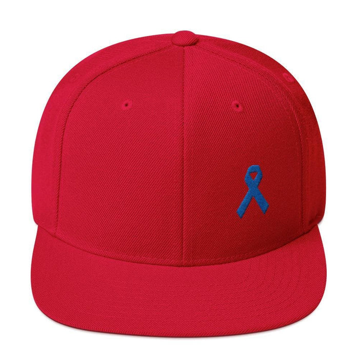 Colon Cancer Awareness Flat Brim Snapback Hat with Dark Blue Ribbon - One-size / Red - Hats