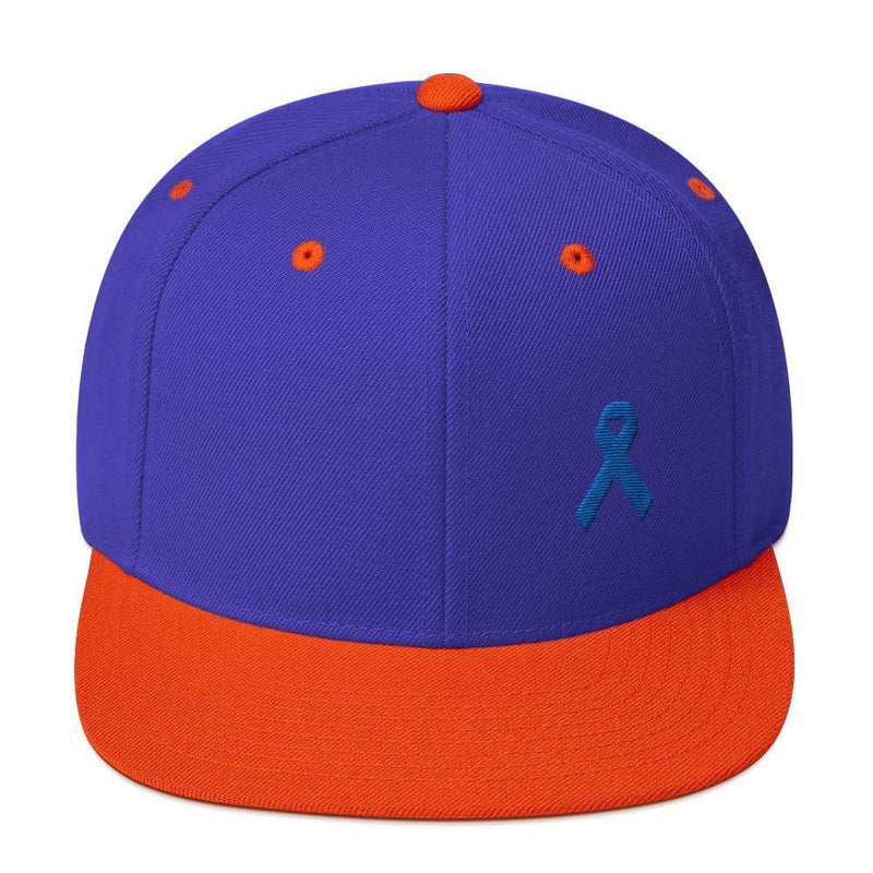 Colon Cancer Awareness Flat Brim Snapback Hat with Dark Blue Ribbon - One-size / Royal/ Orange - Hats