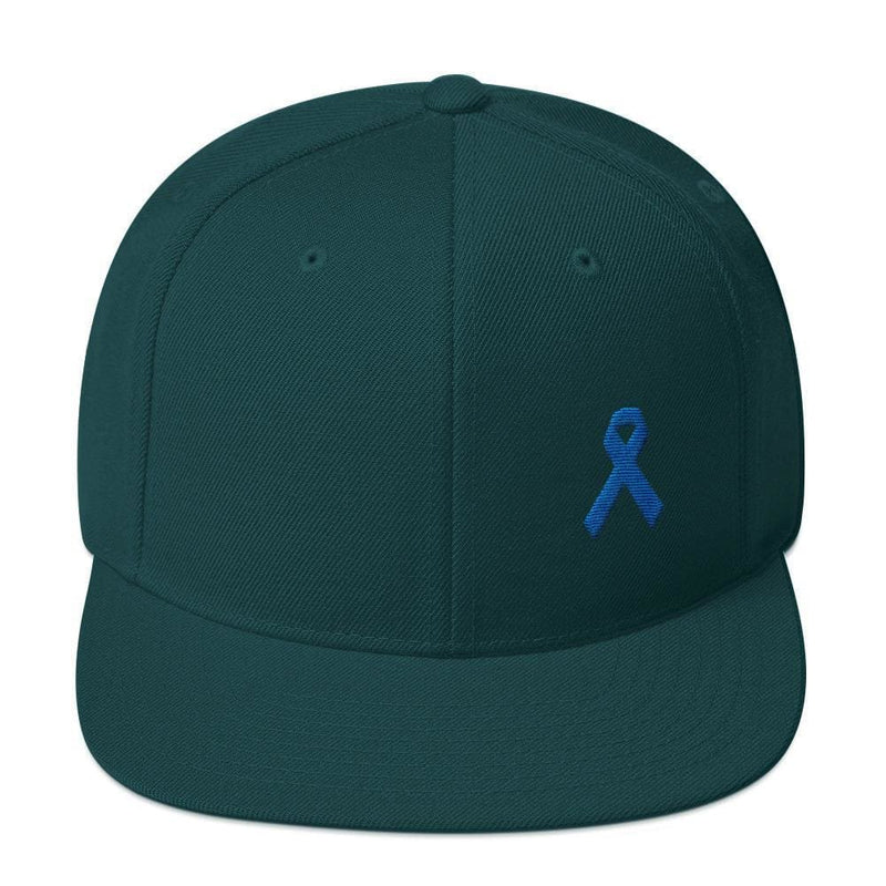 Colon Cancer Awareness Flat Brim Snapback Hat with Dark Blue Ribbon - One-size / Spruce - Hats
