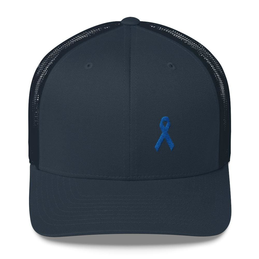 Colon Cancer Awareness Snapback Trucker Hat with Dark Blue Ribbon - One-size / Navy - Hats