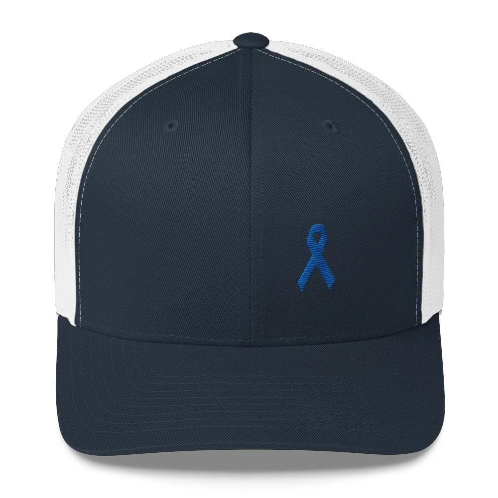 Colon Cancer Awareness Snapback Trucker Hat with Dark Blue Ribbon - One-size / Navy/ White - Hats