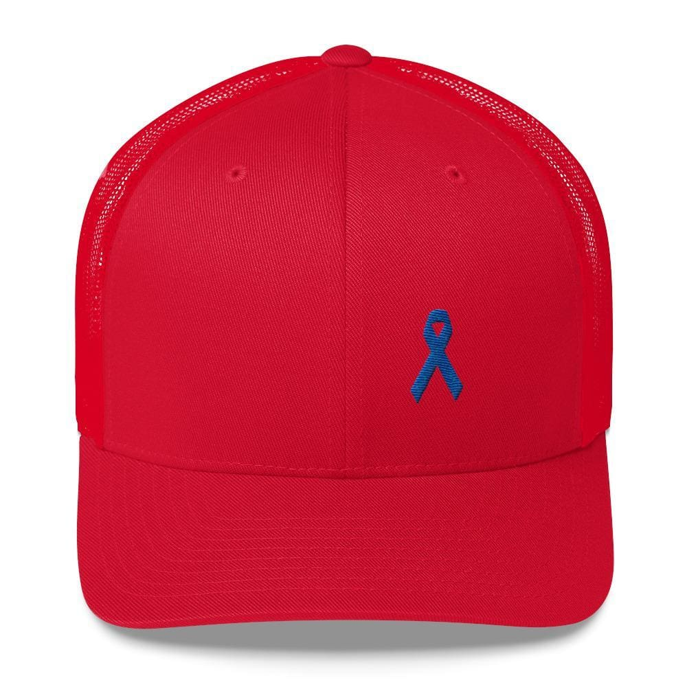 Colon Cancer Awareness Snapback Trucker Hat with Dark Blue Ribbon - One-size / Red - Hats