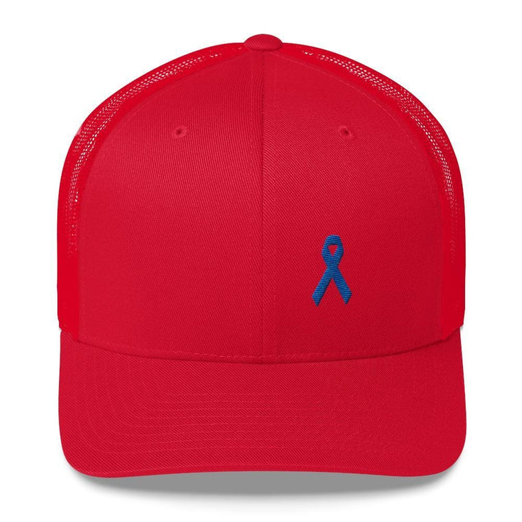 Colon Cancer Awareness Snapback Trucker Hat with Dark Blue Ribbon