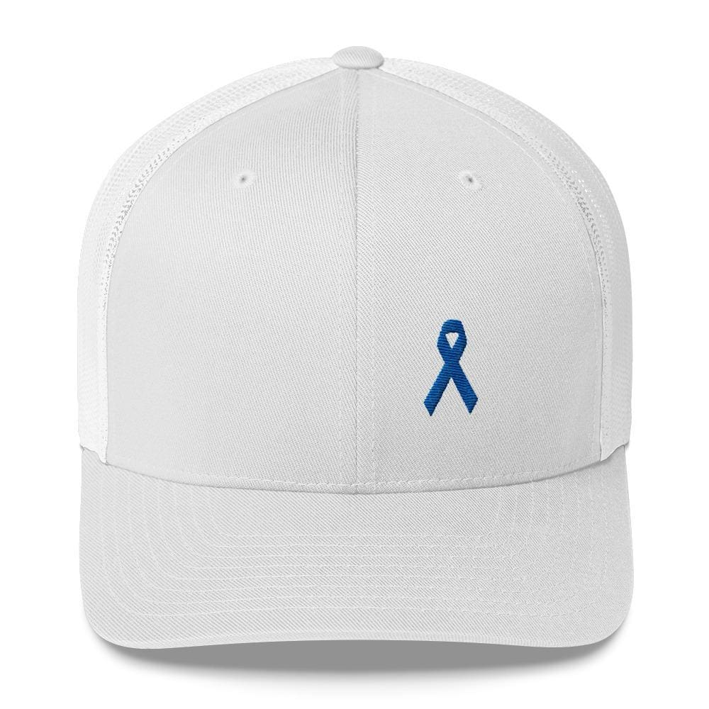 Colon Cancer Awareness Snapback Trucker Hat with Dark Blue Ribbon - One-size / White - Hats