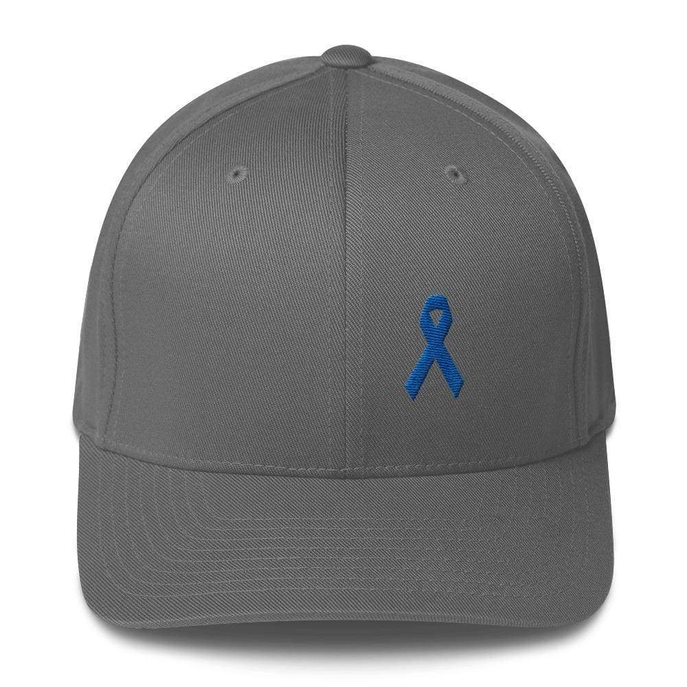 Colon Cancer Awareness Twill Flexfit Fitted Hat With Dark Blue Ribbon - S/m / Grey - Hats