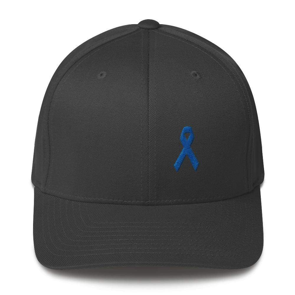 Colon Cancer Awareness Twill Flexfit Fitted Hat With Dark Blue Ribbon - S m  ... e91b40d35a9