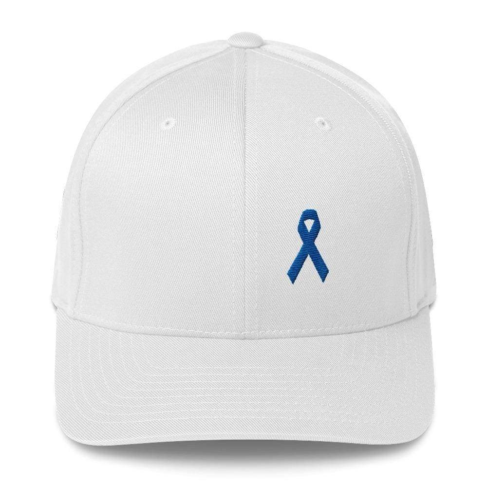 Colon Cancer Awareness Twill Flexfit Fitted Hat With Dark Blue Ribbon - S/m / White - Hats