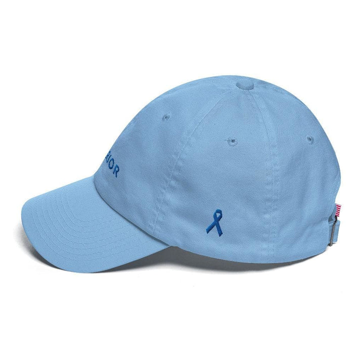 Colon Cancer Awareness Warrior Hat with Blue Ribbon - Hats