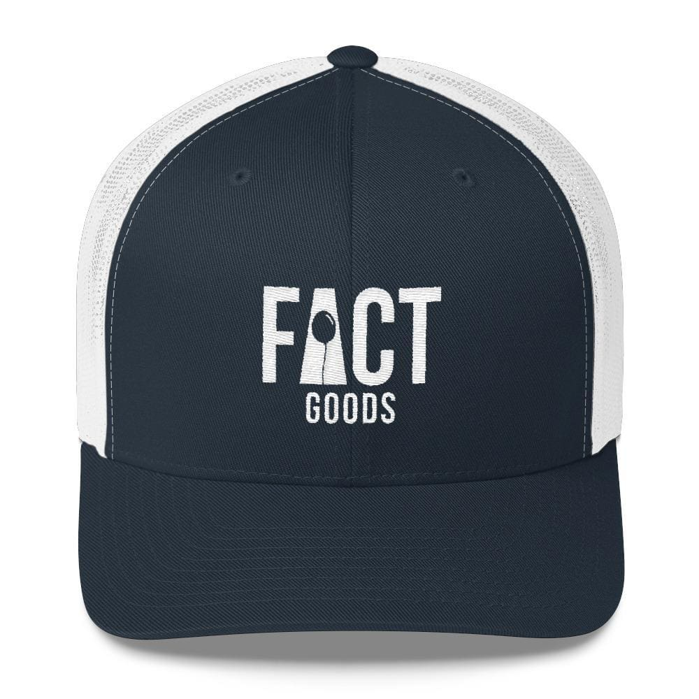 Load image into Gallery viewer, FACT goods Logo Snapback Trucker Hat - One-size / Navy - Hats