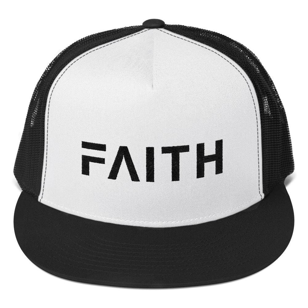 Load image into Gallery viewer, FAITH 5-Panel Christian Snapback Trucker Hat Embroidered in Black Thread - One-size / Black - Hats