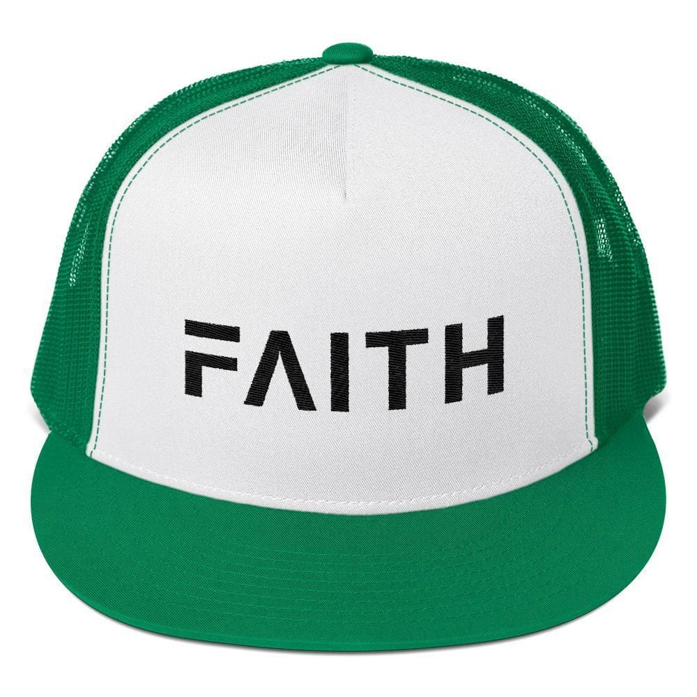 Load image into Gallery viewer, FAITH 5-Panel Christian Snapback Trucker Hat Embroidered in Black Thread - One-size / Kelly Green - Hats