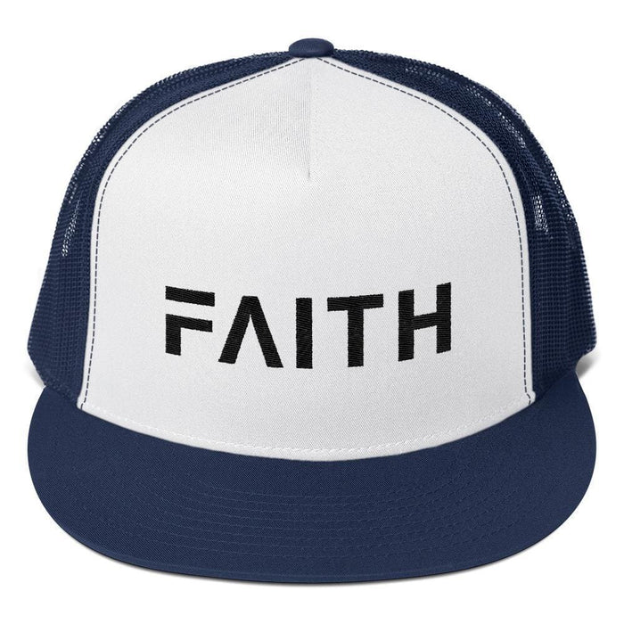 FAITH 5-Panel Christian Snapback Trucker Hat Embroidered in Black Thread - One-size / Navy - Hats