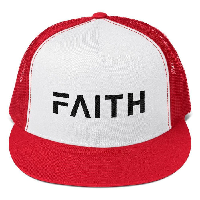 FAITH 5-Panel Christian Snapback Trucker Hat Embroidered in Black Thread - One-size / Red - Hats