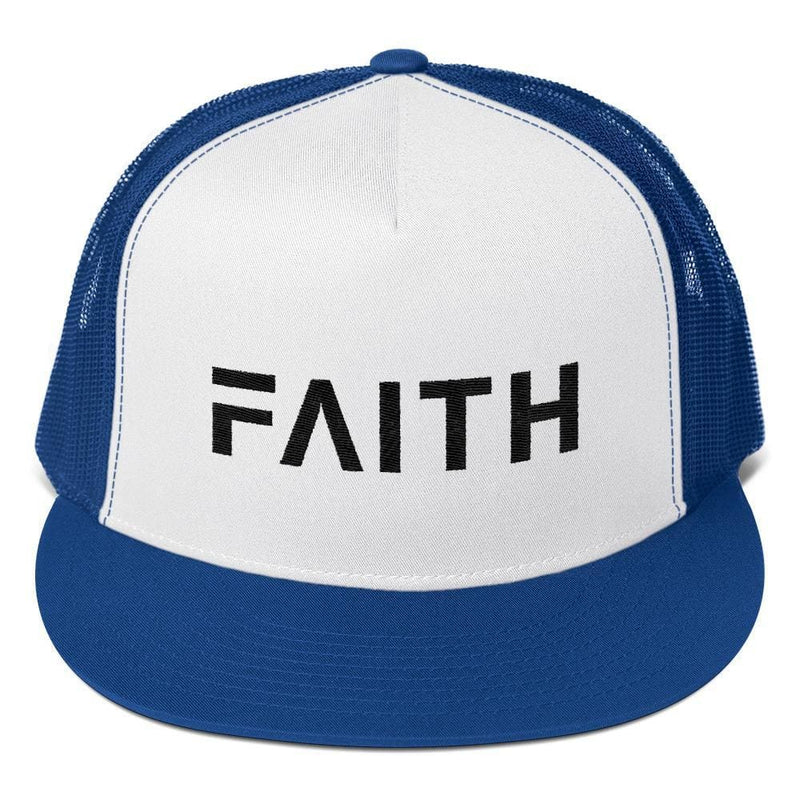 FAITH 5-Panel Christian Snapback Trucker Hat Embroidered in Black Thread - One-size / Royal Blue - Hats