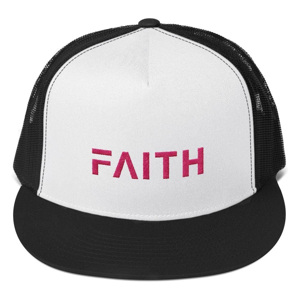 FAITH 5-Panel Christian Snapback Trucker Hat Embroidered in Pink Thread