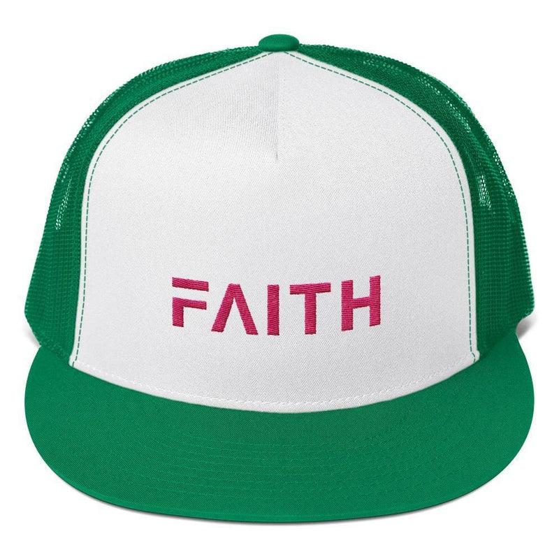 FAITH 5-Panel Christian Snapback Trucker Hat Embroidered in Pink Thread - One-size / Kelly Green - Hats