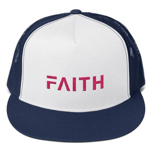 FAITH 5-Panel Christian Snapback Trucker Hat Embroidered in Pink Thread - One-size / Navy - Hats