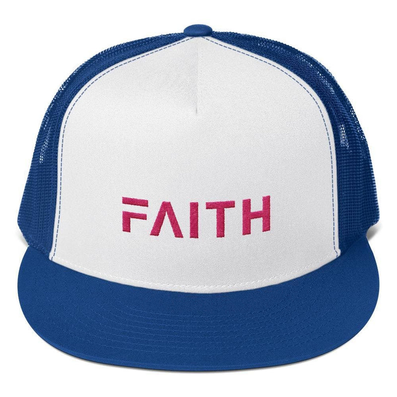 FAITH 5-Panel Christian Snapback Trucker Hat Embroidered in Pink Thread - One-size / Royal Blue - Hats