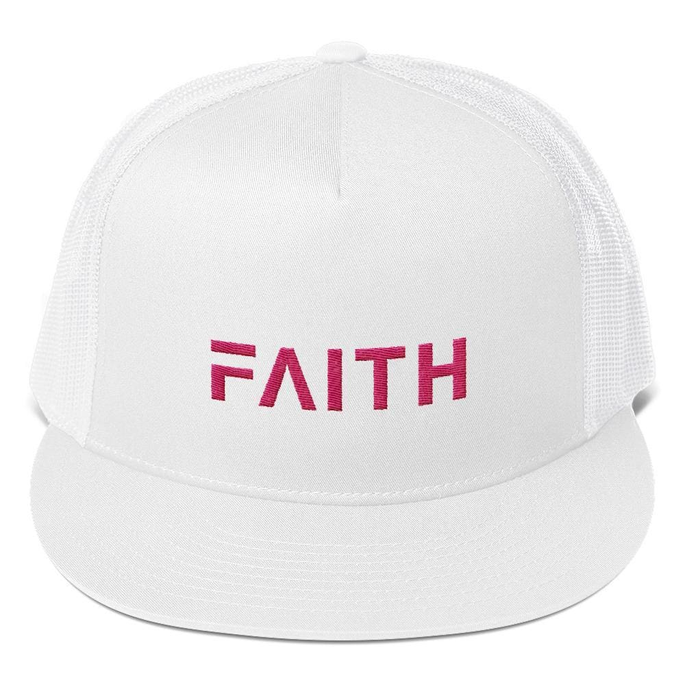 FAITH 5-Panel Christian Snapback Trucker Hat Embroidered in Pink Thread - One-size / White - Hats