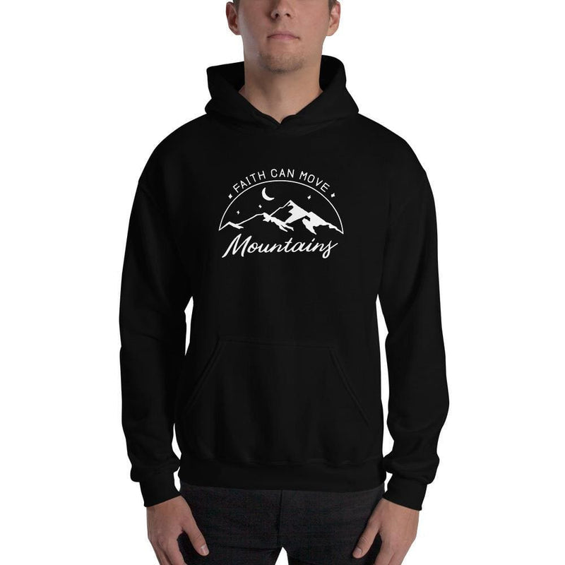 Faith Can Move Mountains Christian Pullover Hoodie Sweatshirt - S / Black - Sweatshirts