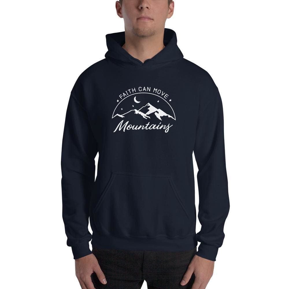 Faith Can Move Mountains Christian Pullover Hoodie Sweatshirt - S / Navy - Sweatshirts