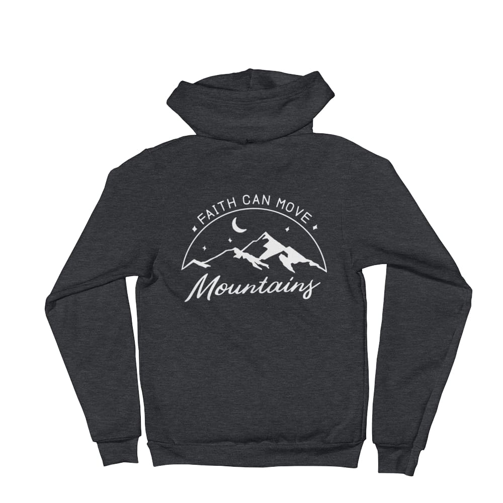 Faith Can Move Mountains Christian Zip Up Hoodie Sweatshirt - S / Dark Heather Grey - Sweatshirts