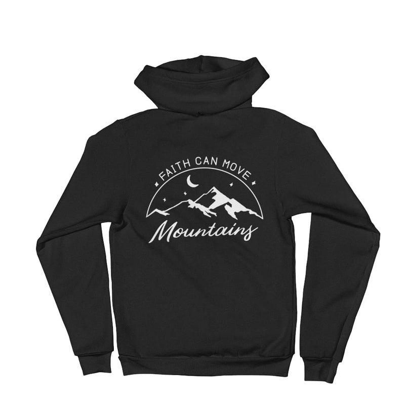 Faith Can Move Mountains Christian Zip Up Hoodie Sweatshirt - XS / Black - Sweatshirts