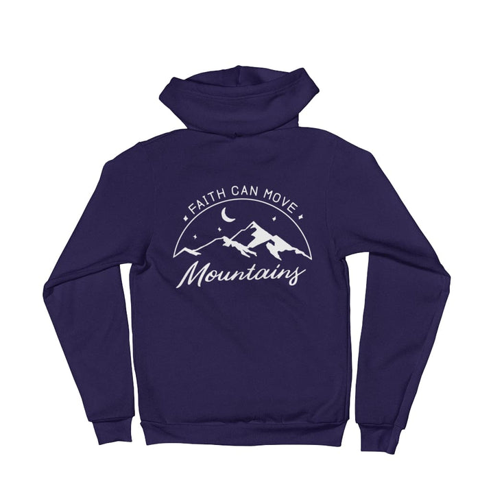 Faith Can Move Mountains Christian Zip Up Hoodie Sweatshirt - XS / Navy - Sweatshirts