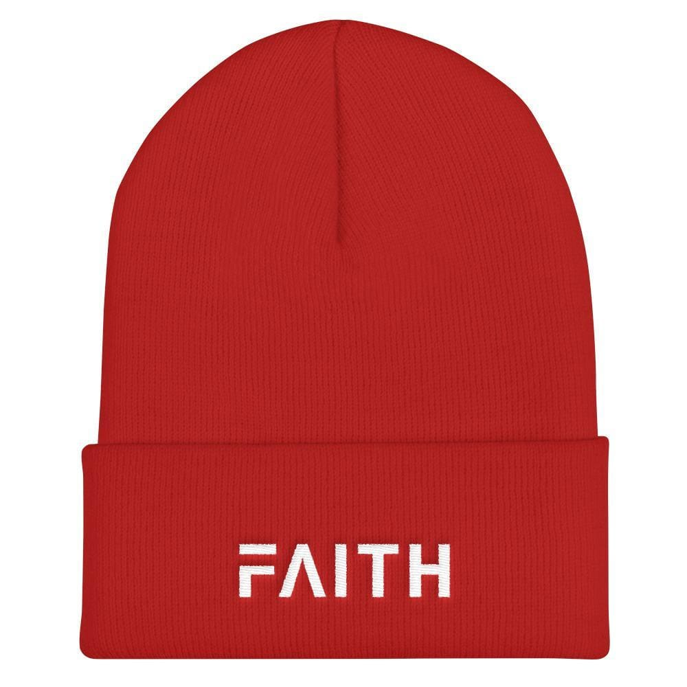 Load image into Gallery viewer, FAITH Christian Beanie - One-size / Red - Hats