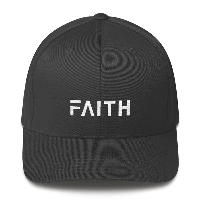 Faith Christian Fitted Flexfit Twill Baseball Hat - S/m / Dark Grey - Hats