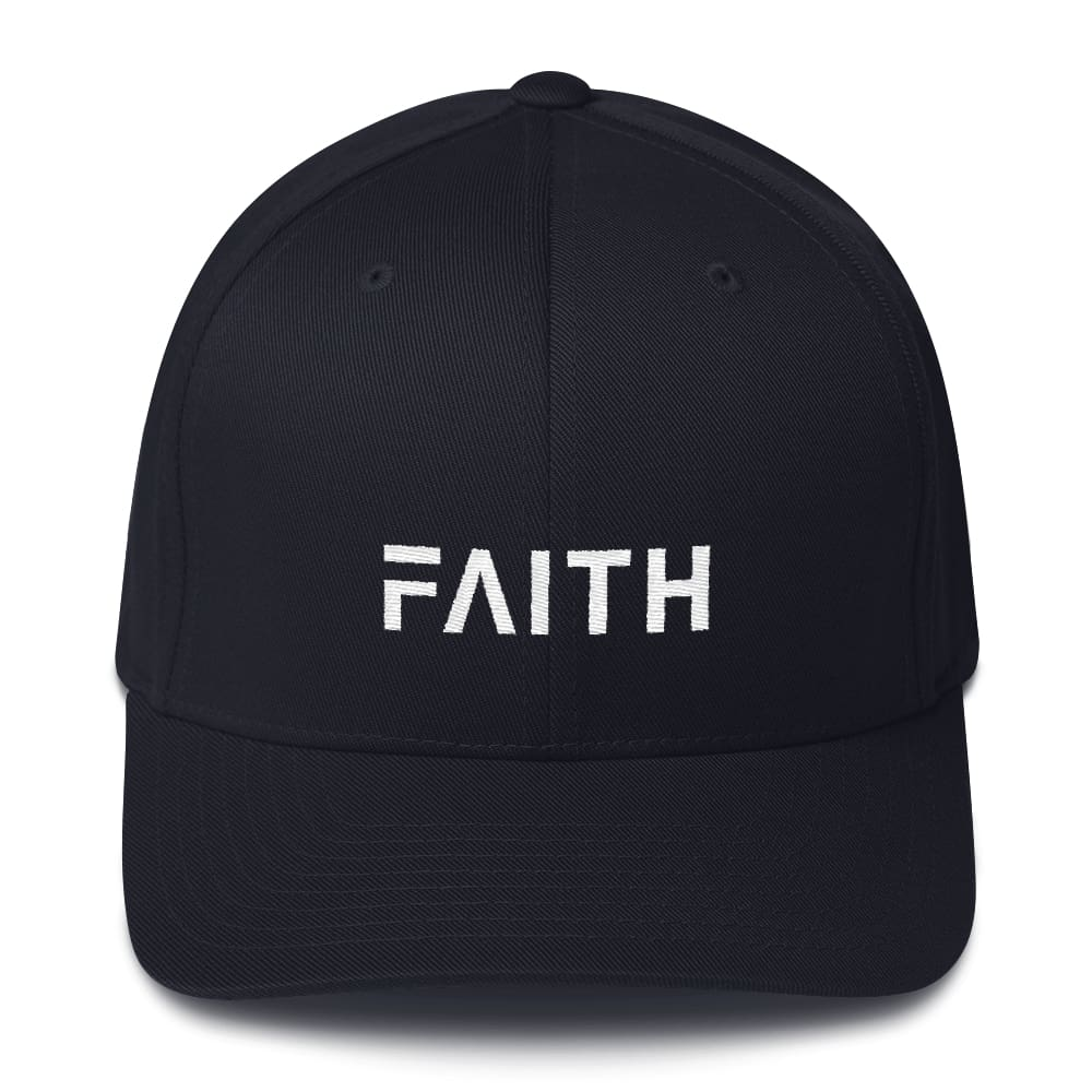 Faith Christian Fitted Flexfit Twill Baseball Hat - S/m / Dark Navy - Hats