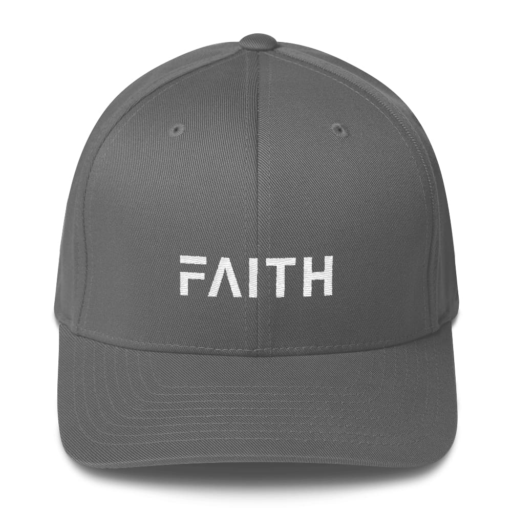 Faith Christian Fitted Flexfit Twill Baseball Hat - S/m / Grey - Hats