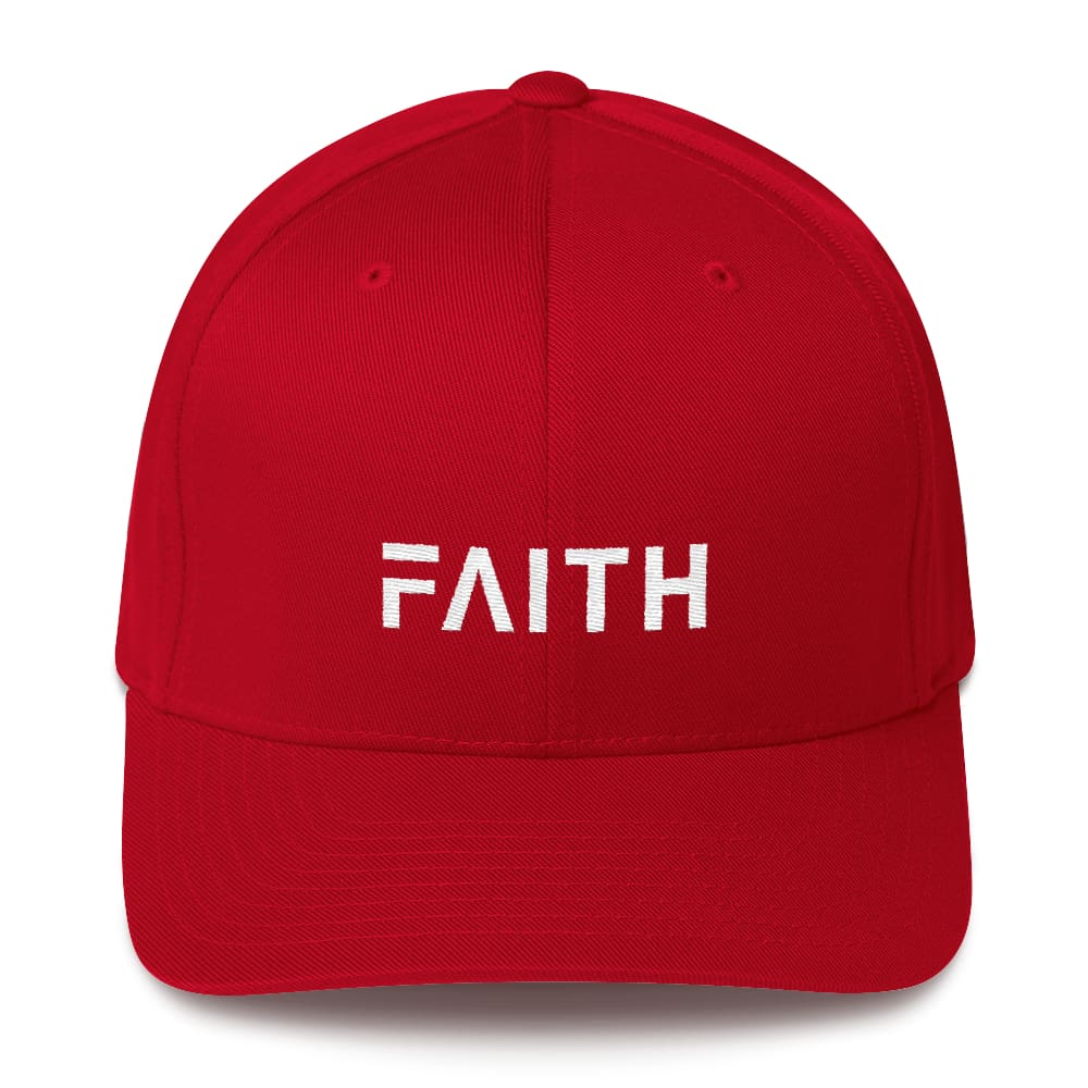 Faith Christian Fitted Flexfit Twill Baseball Hat - S/m / Red - Hats